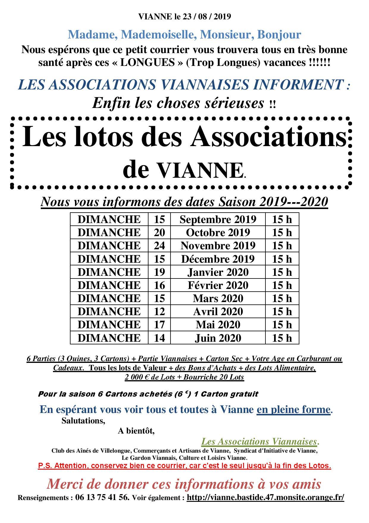 Culture Et Loisirs Vianne Pari47 Federation Des