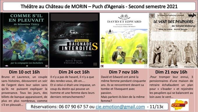 Théâtre au château de Morin: le programme du second semestre 2021